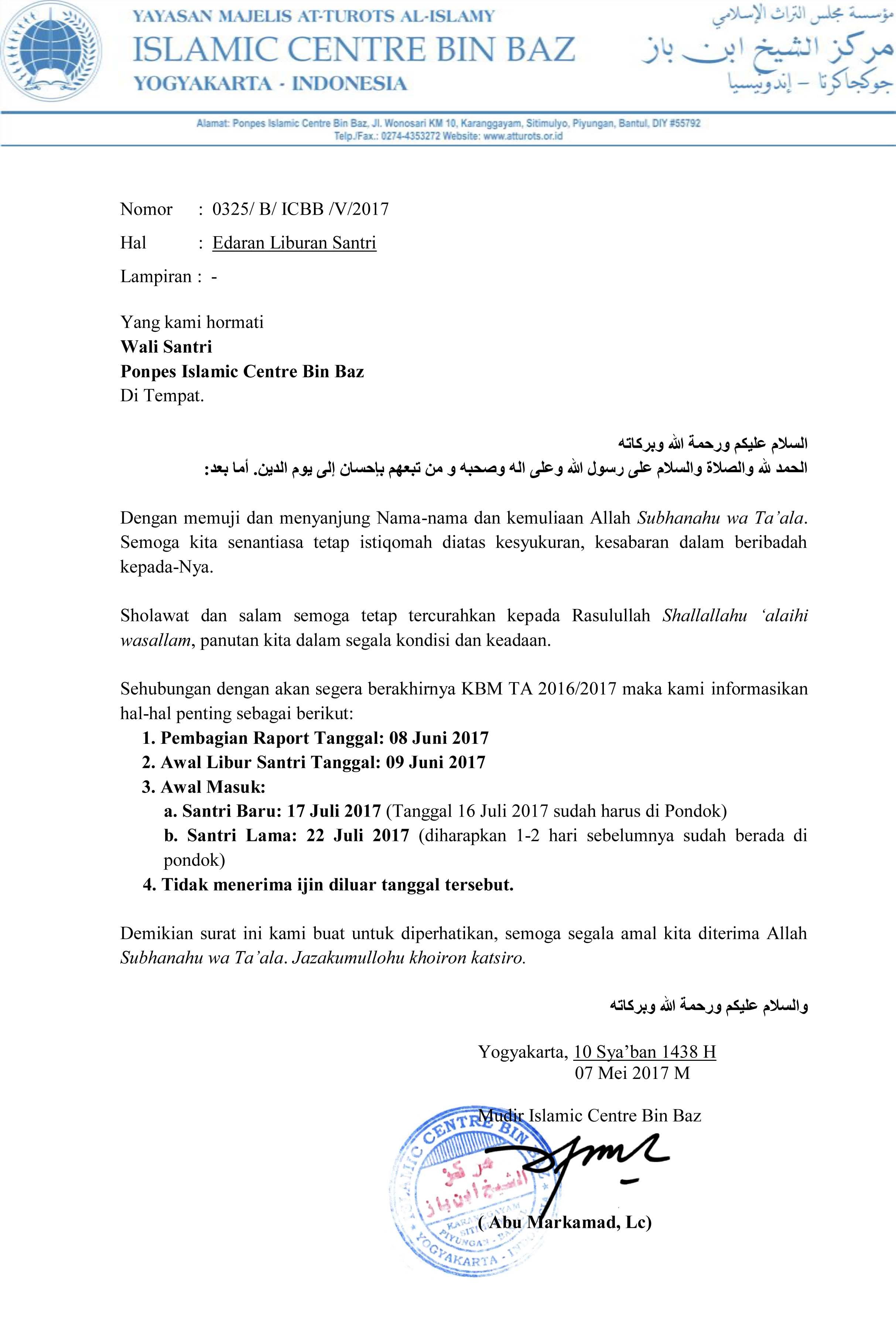 Surat Edaran Untuk Wali Santri Icbb